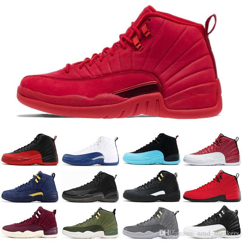 dba1d58bff975e Купить Оптом Nike Air Jordan Retro 12 12s Мужская Баскетбольная Обувь  Тренажерный Зал Красный Класс 2003 Гриппа Игры Мастер Бордо Волк Серый Плей  Офф ...