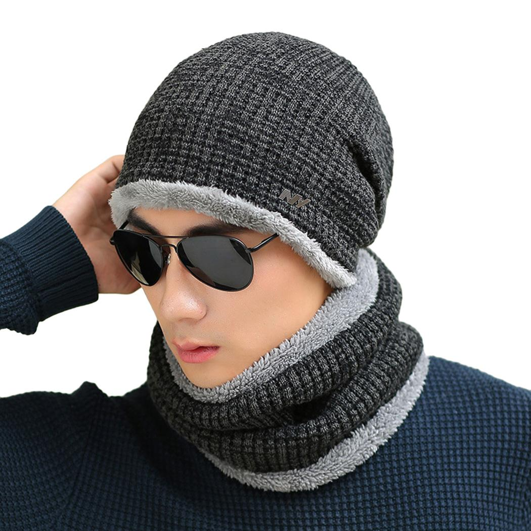60f29988a59 2019 Fashoin Winter Hat Scarf Set Men Women Wool Warm Knit Beanies Cap  Casual Lady Male Outdoor Ski Cycling Mask Muffler Neck Warmer From  Dragonfruit