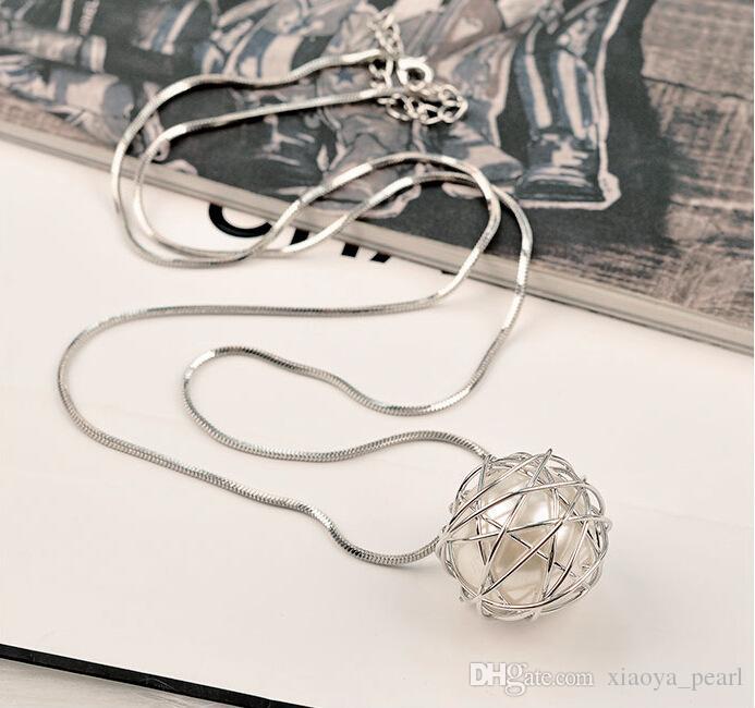 Oyster Pearl Tasarım Moda Hollow Locket Clavicle Zincir kolye toptan ile 2018 yeni Aşk İstek Kafes Kolye Kolye doğal İnci