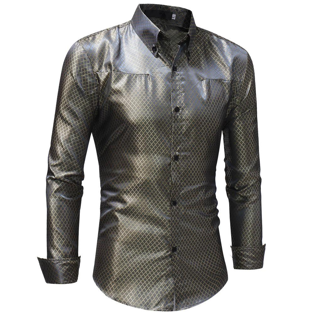 Silk Shirt Men 2018 Satin Smooth Men grid Shirt Business Chemise Homme Casual Slim Fit Shiny Gold Wedding Dress Shirts