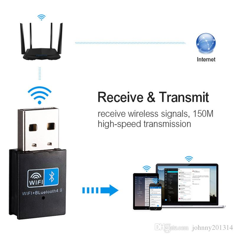 2 In 1 Wireless USB Adapter 150Mbps WiFi Bluetooth 4.0 Receiver For Computer PC