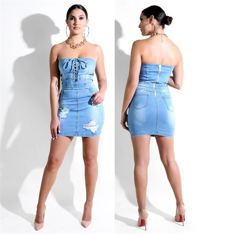 Wholesale free shipping Women sexy bodycon bandage strapless denim jeans elegant dress ladies strapless sexy party wear
