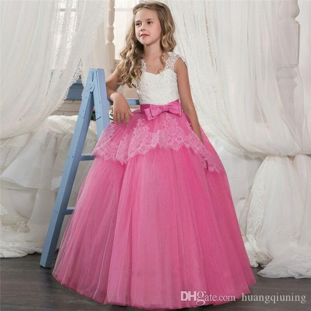 568dca8c85dee Long Party Prom Gowns Kids Lace Layered Girls Dress Boutique Girl Clothes  For Wedding Birthday Costume Teenage Girl Graduations