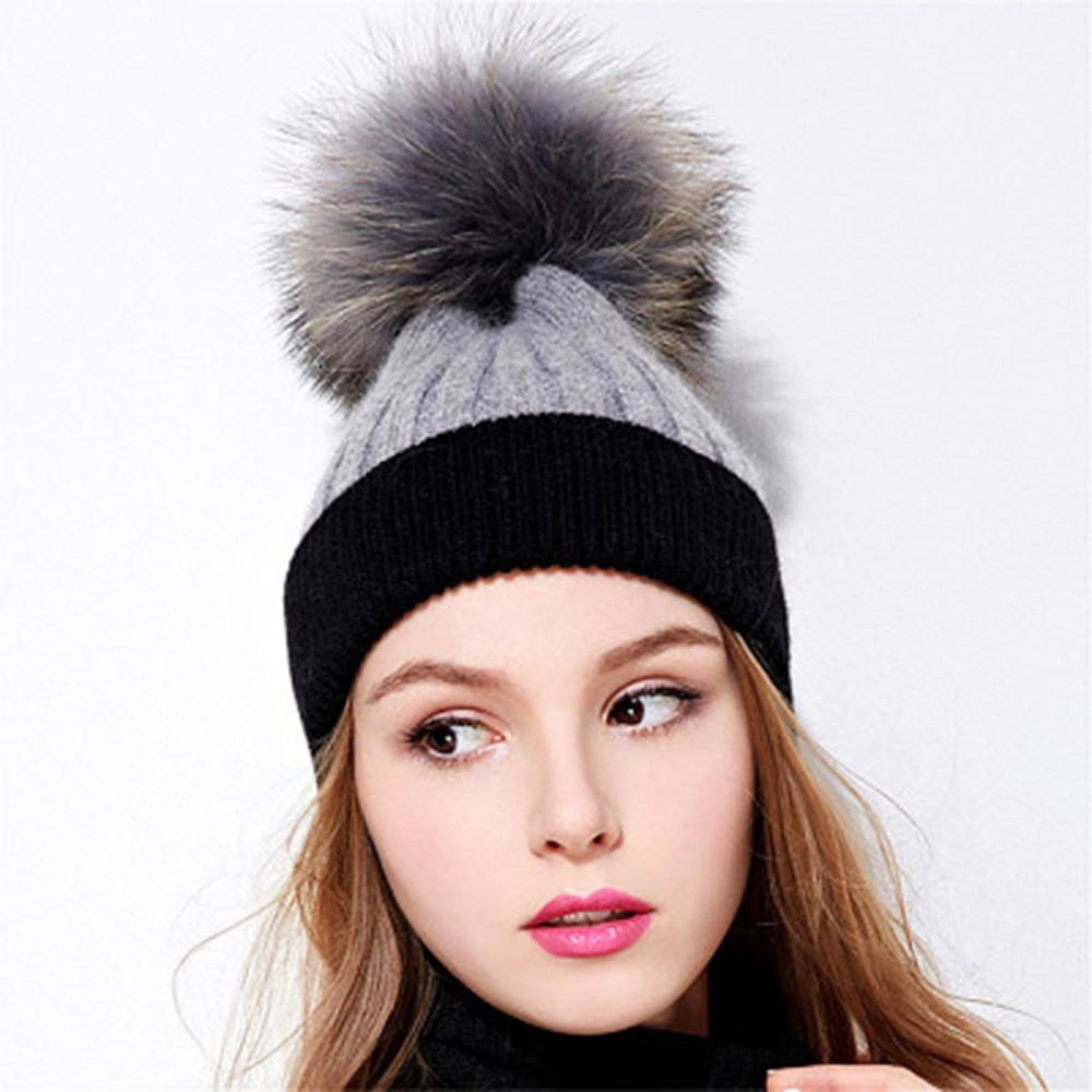 c853f59f4fec8 Woman Knit Beanie Hat And Scarf Set Hairball Pom Pom Hats Female Thick Hat  Winter Warm Cute Girls Fashion Cap Collar Suit 2019 Skullies   Beanies  Cheap ...
