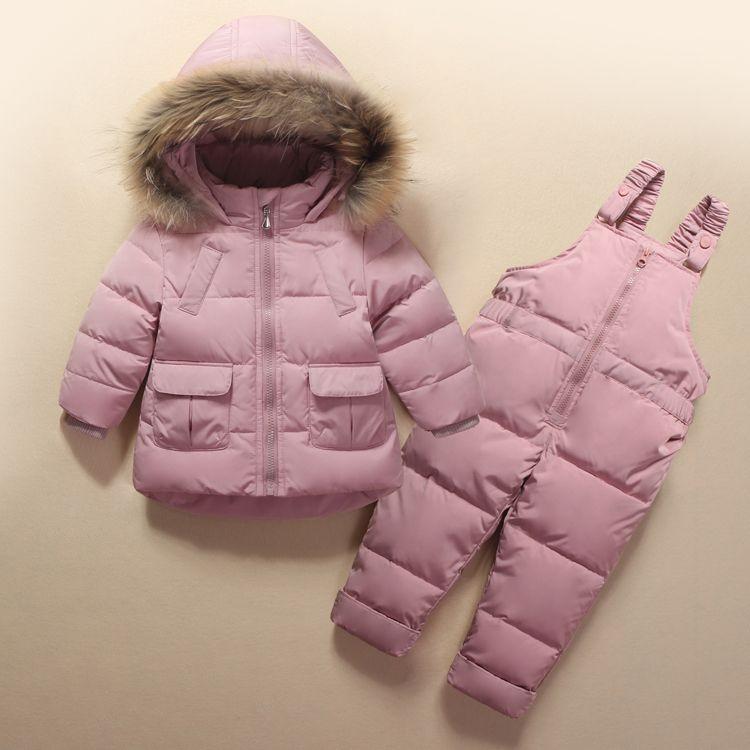 8bceffc2e Kids Clothes Girls Boys Down Coat Children Warm Snowsuit Outerwear + Romper  Clothing Set Russian children's Winter jackets