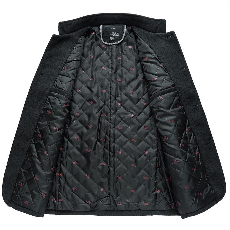 Winter Jacket Mens Stand Collar Business Solid Wool Cashmere Coat Men Windbreaker Plus Size M-5XL Wool & Blends Men Peacoat