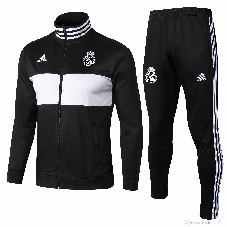 0a938669dcc41 Compre Ropa Deportiva Del Real Madrid Chaqueta Negra Pantalones De Fútbol  Para Hombre 2018 19 Ropa Deportiva De Fútbol 18 19 Traje De Entrenamiento  Para ...