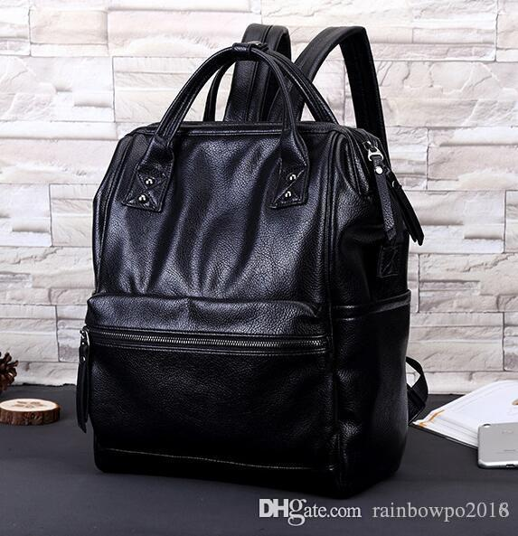 Factory Outlet Brand Bags Leisure Korean Sports All Match Leather Backpack  Pocket Stitching Three Dimensional Fashion Leather Handbag Laptop Rucksack  ... c745b56242369