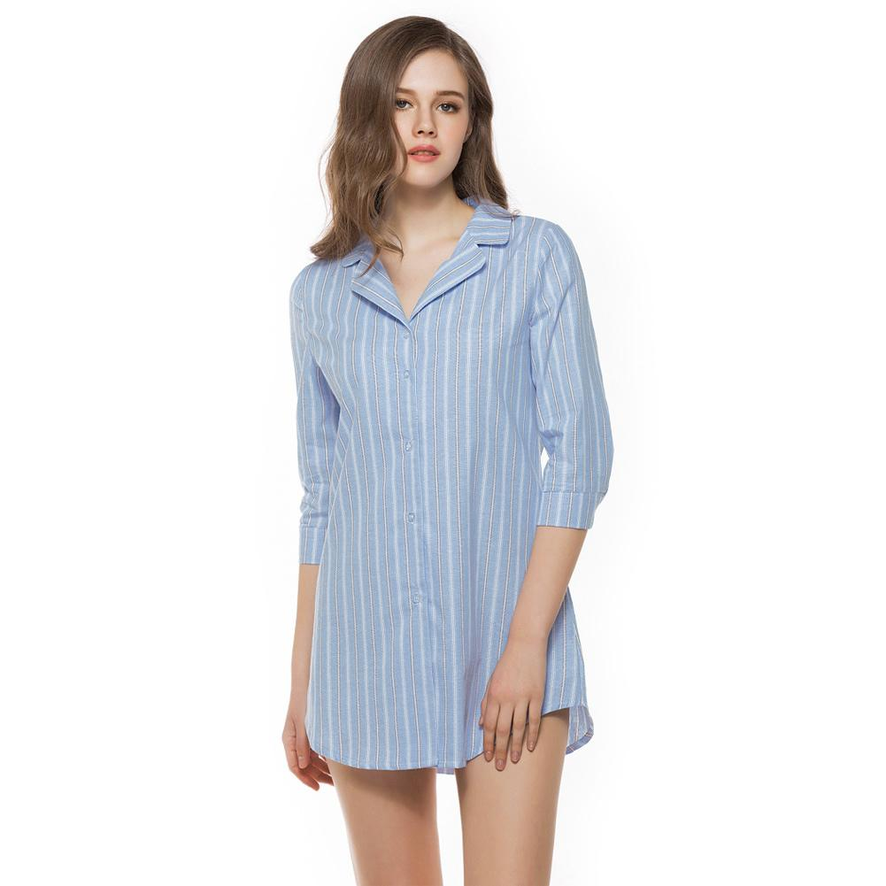 799ce69a9 Compre Plus Size Moda Feminina Camisa Listrada Botão Turn Down Collar 3 4  De Manga Solta Camisa Longa Tops 3XL Blusa De Linho Rosa   Azul Claro De  Jamie07
