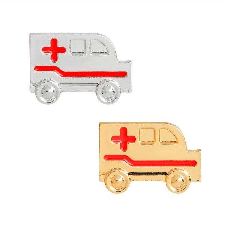 2018 Ambulance Shape Small Size Brooches Pins Medicine Symbol