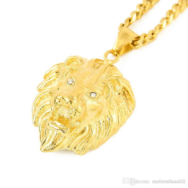 Lion Head Pendants&Necklaces Hip Hop Jewelry Gold Chains For Men Stainless Steel Designer Jewelry Cuban Link Chain Statement Necklace bijoux