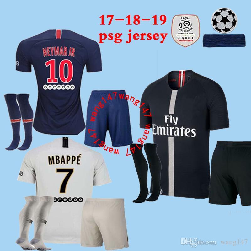 d19c582a6 17 18 19 Adult kits+sock MBAPPE PSG soccer jerseys men kit 2018 2019 CAVANI  DANI ALVES Champions League maillot men football shirt uniforms