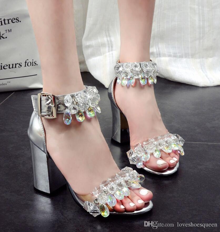 2018 nuevas sandalias de cuero de astilla abierta sandalias de gladiador de diamante tacón alto sandalias de tacón grueso mujer moda cristal tacones