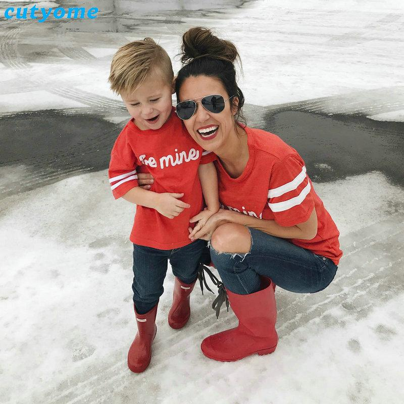 06e83549 Mother And Daughter Son Clothes Family Matching Clothing BE MINE Short  Sleeve T Shirts Mom Daughter Matching Outfits Tee Shirts Family Photo  Outfits ...
