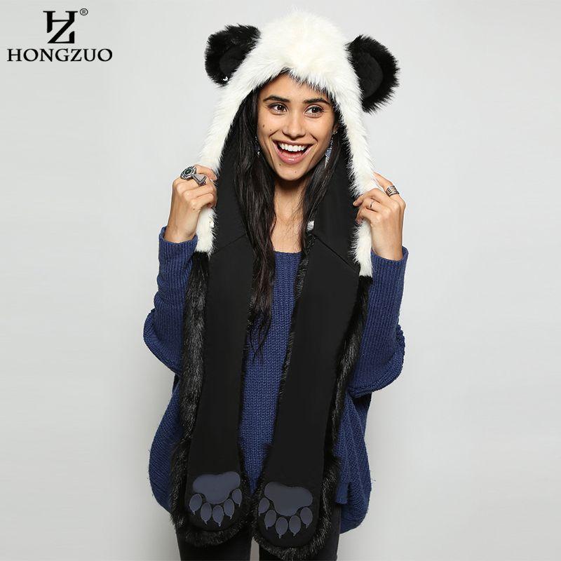 50f60cf9a88e7 2019 HONGZUO 2017 Winter Fashion Warm Panda Animal Faux Fur Hat Scarf  Mittens Ears And Paws Cap Scarf Shawl Gloves Sets PC187 From Lbdfashion