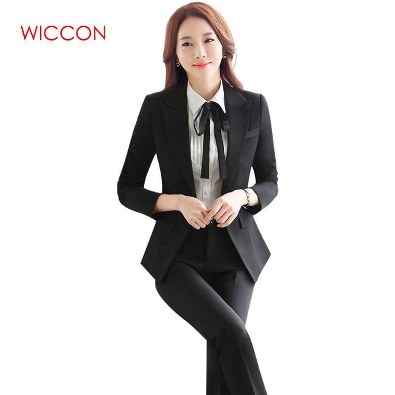 c000058f9489 2019 WICCON Workwear Women S Suit Long Sleeves Black Solid Formal Pants Suit  2018 New Fashion Hot OL Elegant Single Button Pant Suits From Splendid99
