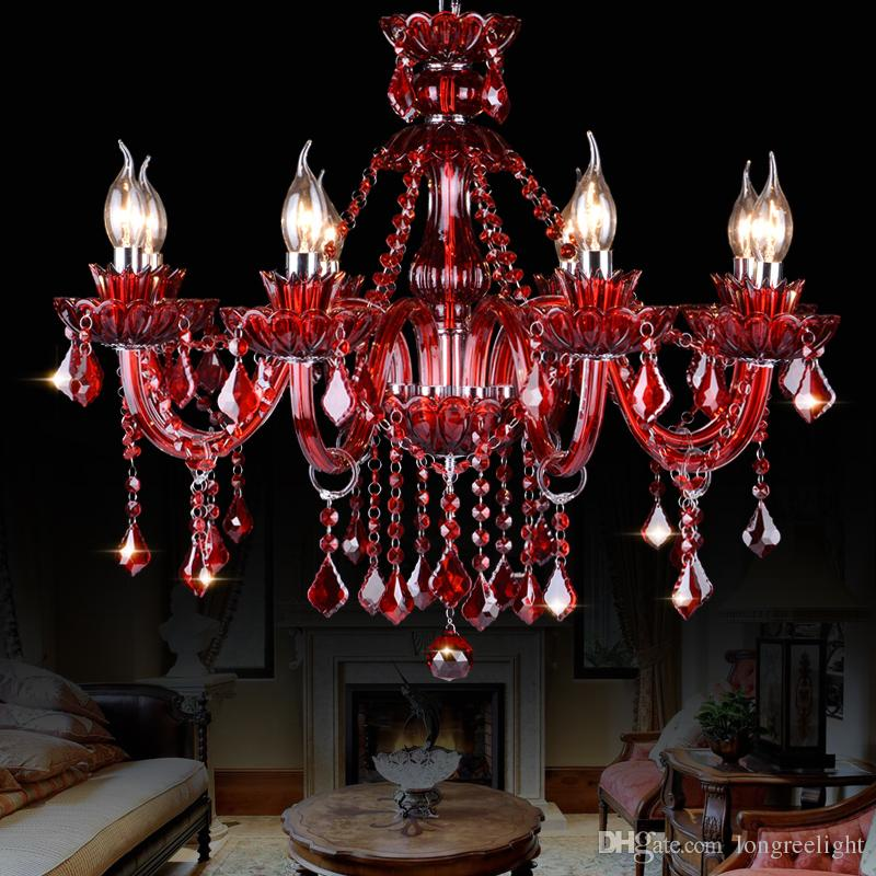LED Candle Chandelier Modern Colored Glass Crystal Chandelier LED Pendant Light for New House Decoration Pink Red Green Purple Colors