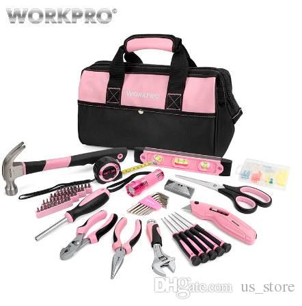 b793da55521 2019 WORKPRO Home Tools Household Tool Set For Women Lady Hand Tools Plier  Screwdrivers Set Flashlight From Us store