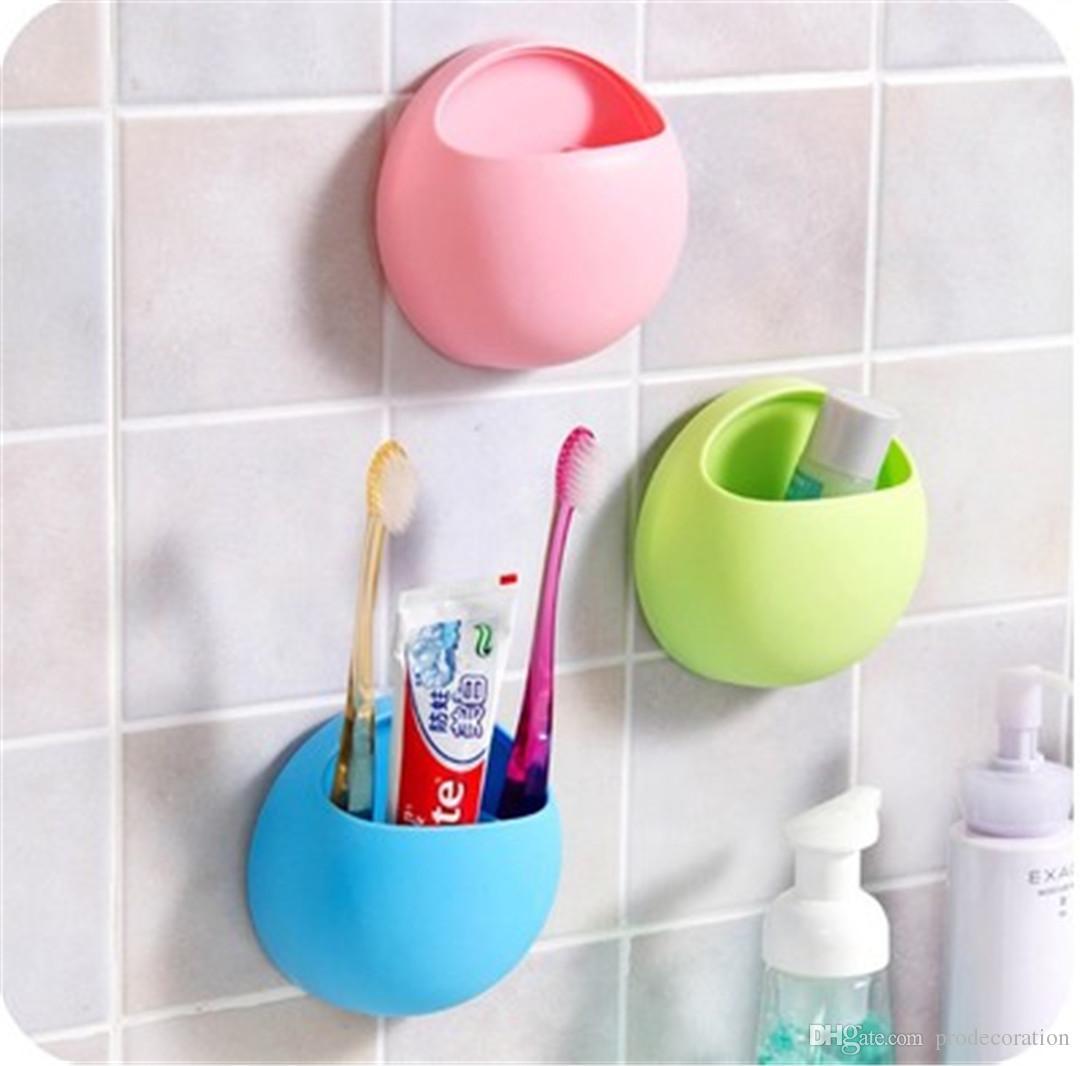 Nouveau Creative Porte-brosse à dents Salle de bains Cuisine Cuisine Famille Brosse à dents Ventouses Titulaire Support mural Crochet Tasses Organisateur Salle De Bains Accessoires