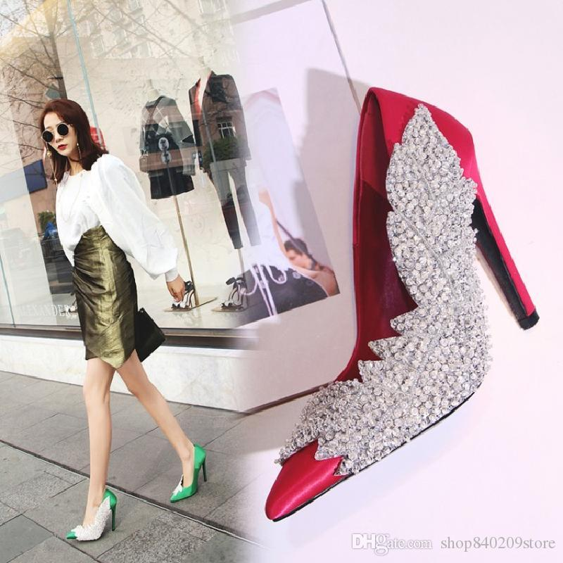 New Spring Shinny Crystal Leaves Women Pumps Wedding Shoes Rose Red ... b80d18e5421b