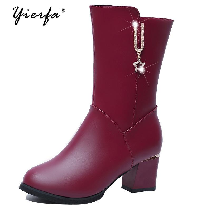 afb2e1f4313d Women Leather Shoes For Winter Boots Shoe Woman Fashion Warm Botas ...