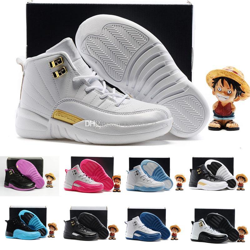 uk availability c5bed f59b3 Acquista Nike Air Jordan 6 11 12 Retro XII 12 Gamma Blu Francese Blu San  Valentino Wolf Grey Scarpe Da Basket Bambini KID 12s Bambini Moda Casual  Sneakers ...