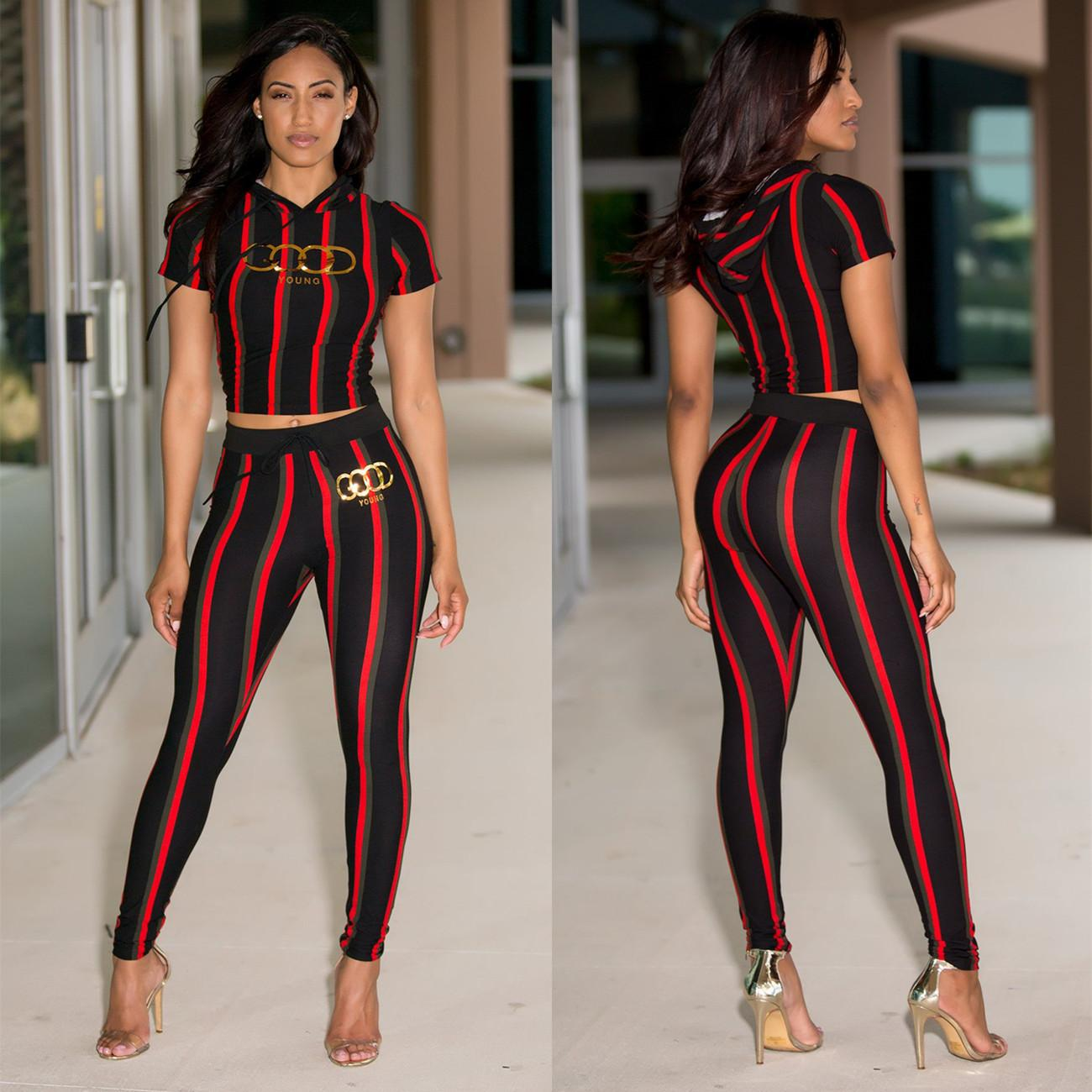 593297c66a4 2019 S 3XL Plus Size Women Clothing Pink Fashion Sexy Women'S Stripes Print,  Victoria Hot Gold Letters, Short Sleeves + Trousers Secret Suit From  Sup555, ...