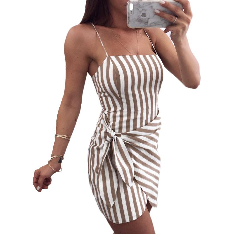 aba0b9b2469 Sexy Bodycon Bandage Wrap Summer Dress Women 2018 Off Shoulder Casual  Sundress Striped Mini Spaghetti Strap Beach Dress Ladies Long Women Dresses  Dresses ...