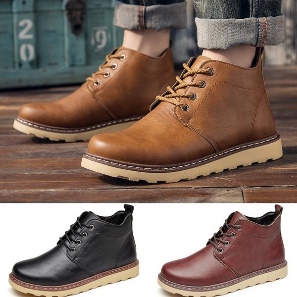6f85baacb02 Mens Casual Oxfords Shoes Ankle Boots Waterproof Martin Boots Work Shoes