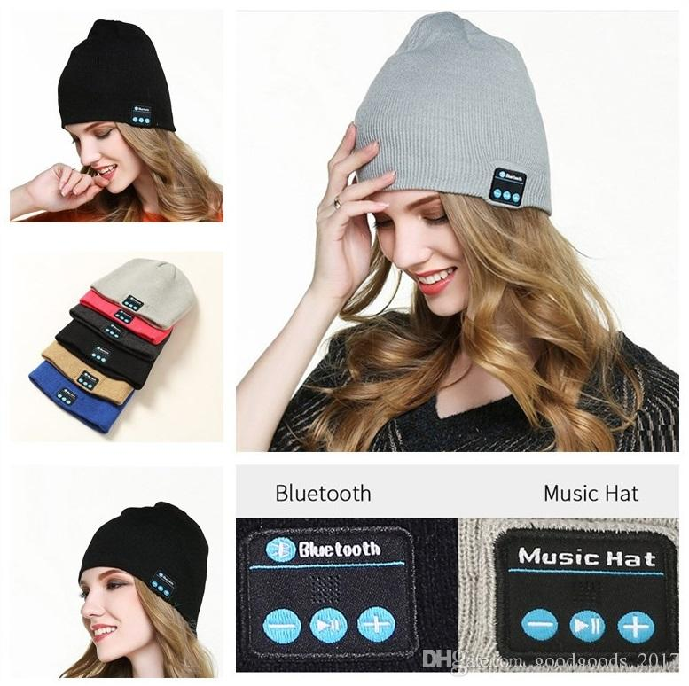856a32ff7a667 2019 M5 Bluetooth Wireleess Beanie Soft Warm Music Cap Stereo Wireless Hat  Headphone Headset USB Speaker Microphone Handfree With Package MK0739 From  ...