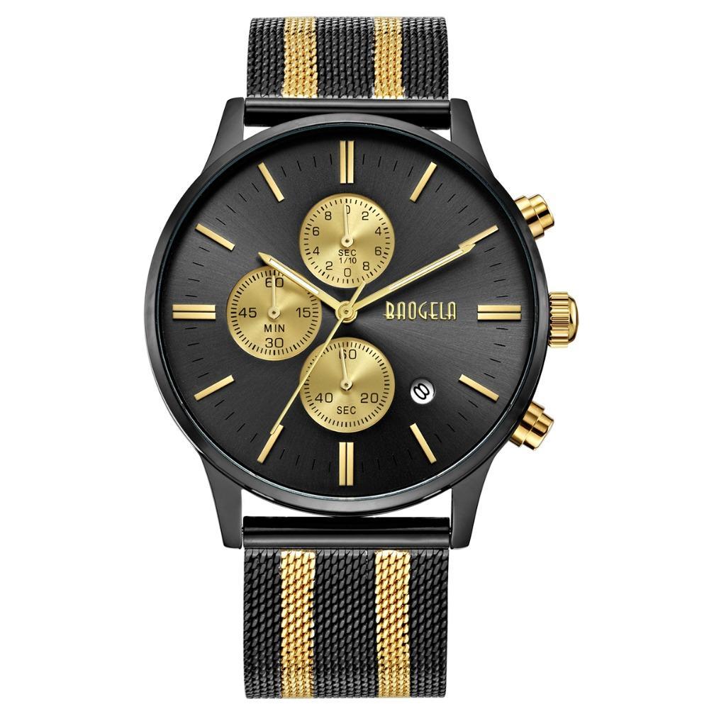 6b25dc073e9c Compre BAOGELA Cronógrafo Relojes Para Hombre De Primeras Marcas De Lujo  Reloj De Cuarzo Reloj De Pulsera De Acero Inoxidable Para Hombre 1611 A   78.57 Del ...