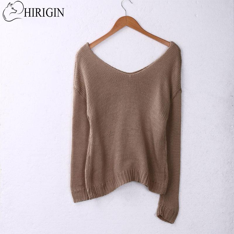 33f5a0d43f HIRIGIN 2017 New Autumn Women Oversized Batwing V Neck Sleeve Knitted  Sweater Loose Knitted Sweaters Female Jumper Tops UK 2019 From Berniee