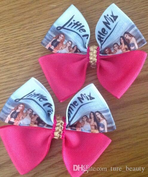GLORY DAY Little Mix girls bow Sparkling 2018 Summer Tour Hits 3.5 Ribbon Hair Bow Clips baby girls hair headwear Hair accessories /