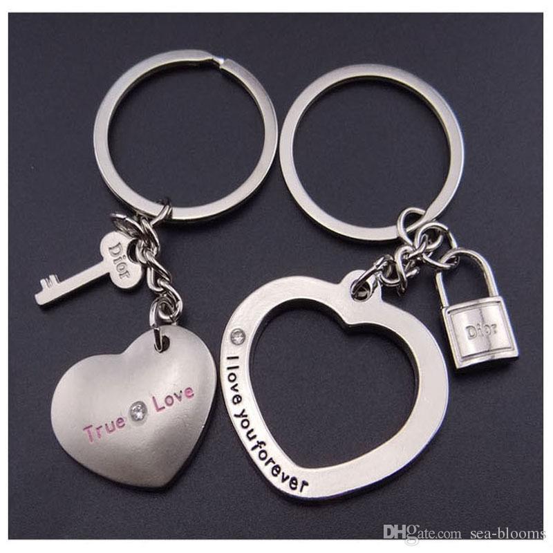 35d896bf46 Custom Logo Creativity Couple Keychains Loving Lock Key Heart Shape Charm  Metal Pendant Keyfob Keyring Lovers Couples Gift Free DHL G652Q Lanyard  Keychain ...
