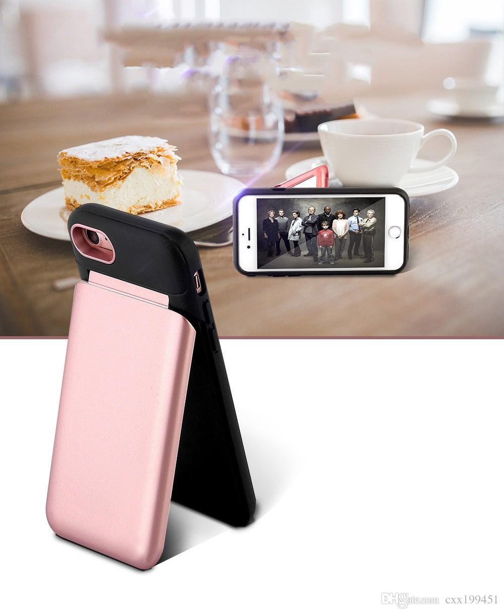 Venda quente 2 em 1 caso espelho slot de cartão de fluxo de água delux mulheres feminino tampa traseira para iphone x iphone 6 7 8