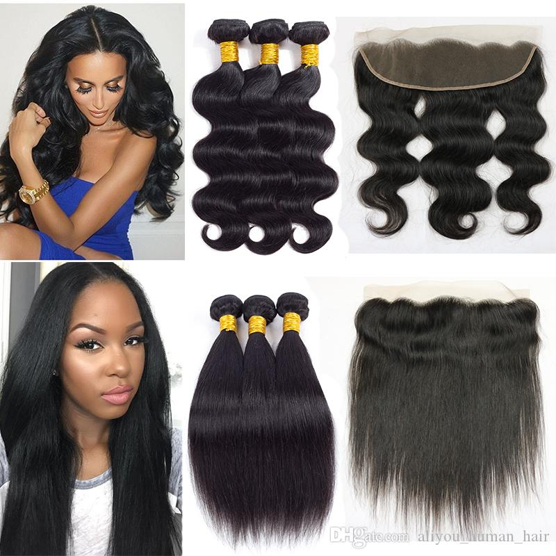 8a Mink Brazillian Body Wave Hair with Lace Frontal Brazilian Peruvian Indian Virgin Straight Human Hair Bundles with Frontal Weaves Closure