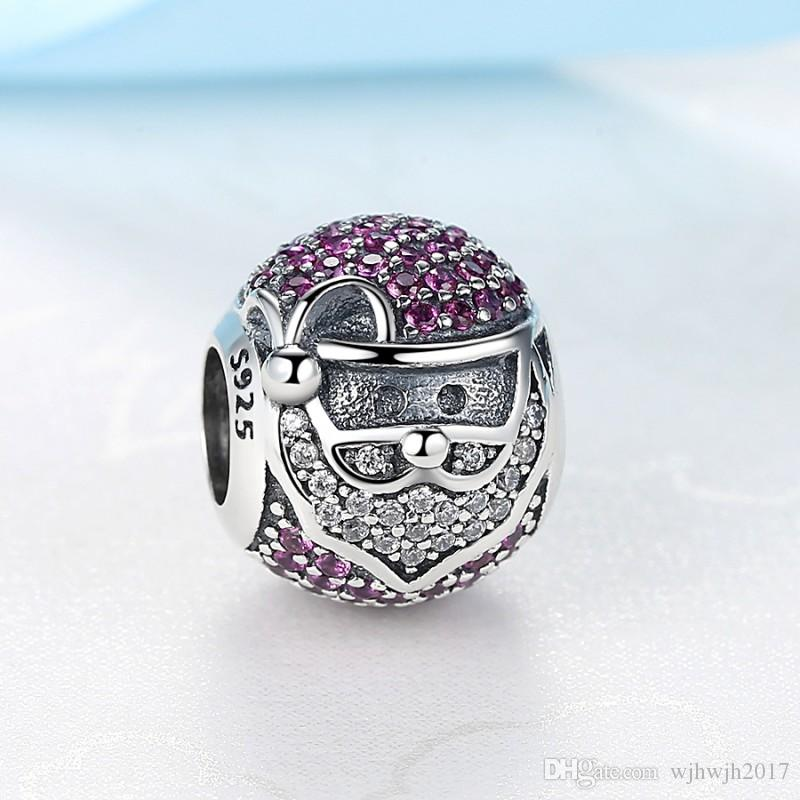 New Authentic 925 Sterling Silver Bead Sparkling Jolly Santa Pave Red & Clear Crystal Charm Fit European Women Bracelets DIY Jewelry Making