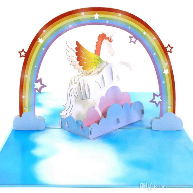 New Creative Unicorn Rainbow 3D Pop Up Card Kirigami Handmade Greeting Cards Birthday Party Gift For Friends Kids From