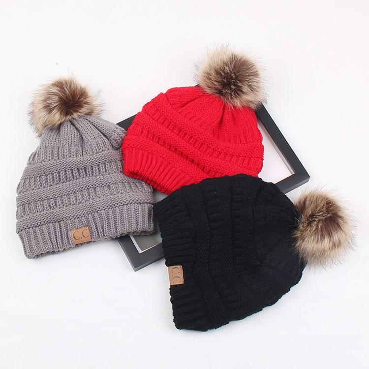 bc7f1e101c9 Woman Winter Hat Beanie CC Faux Fur Pom Pom Ball For Hats Knitted Cap  Skully Warm Ski Hat Trendy Soft Brand Thick Female Caps UK 2019 From  Qingfengxu