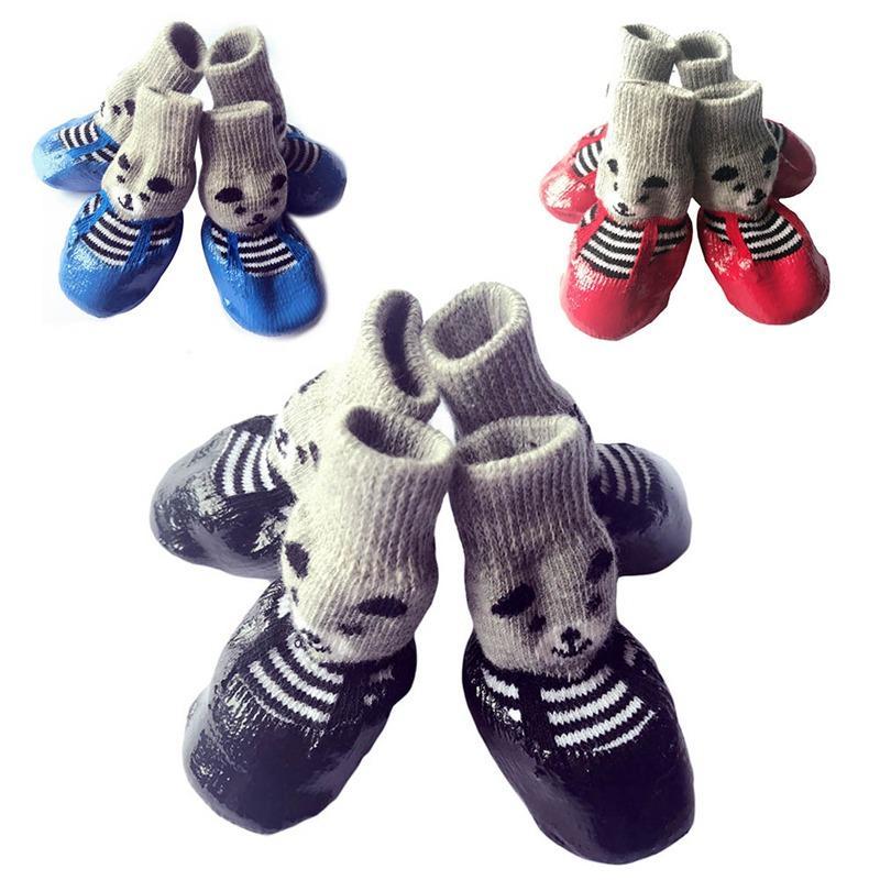 Mascotas Botas Perros Calcetines S / M / L Tamaño Perro Impermeable Zapatos de lluvia antideslizantes Zapatos de perrito de goma 4 Piezas / Conjunto Azul Rojo Negro