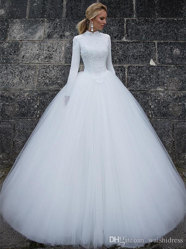 Gorgeous Ball Gown High Collar Wedding Dresses With Long Sleeves ...