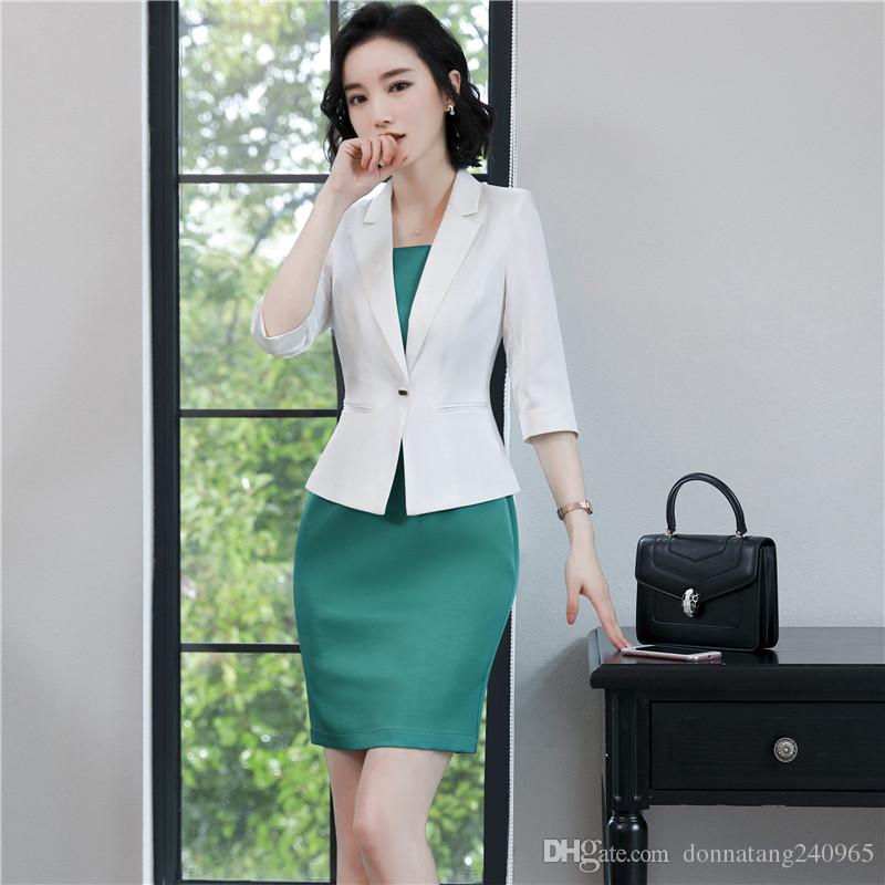 2018 Women Dress Suits Summer Polyester Female Blazer Clothing Set