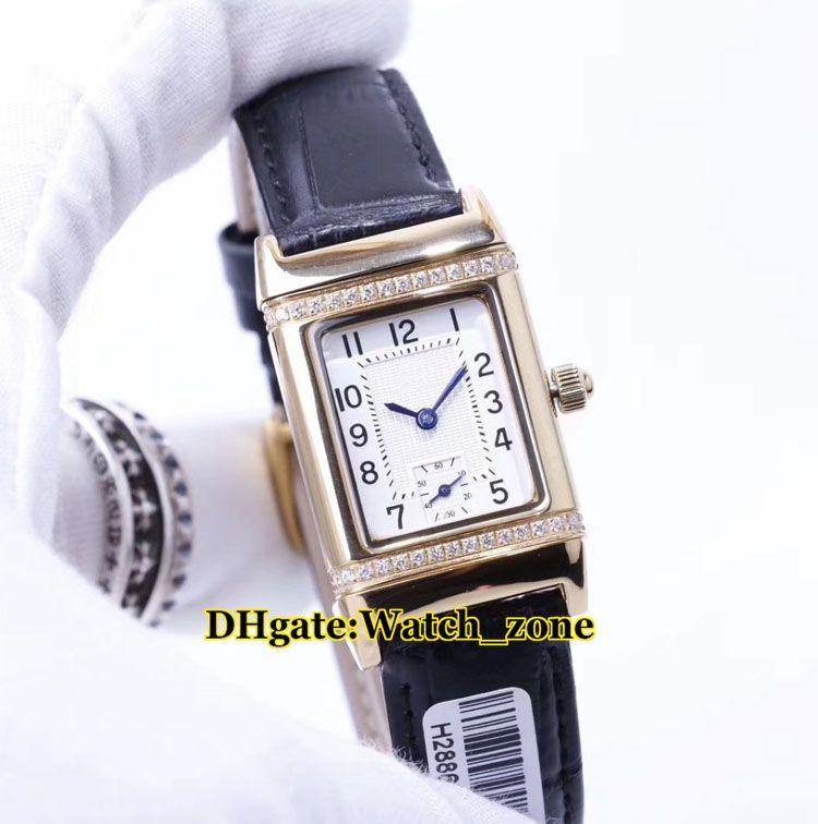 Kız Arkadaşı Hediye Reverso İsviçre Kuvars Beyaz Kadran Gül Altın Elmas Çerçeve Bayan İzle Deri Kayış Moda Lady Saatı