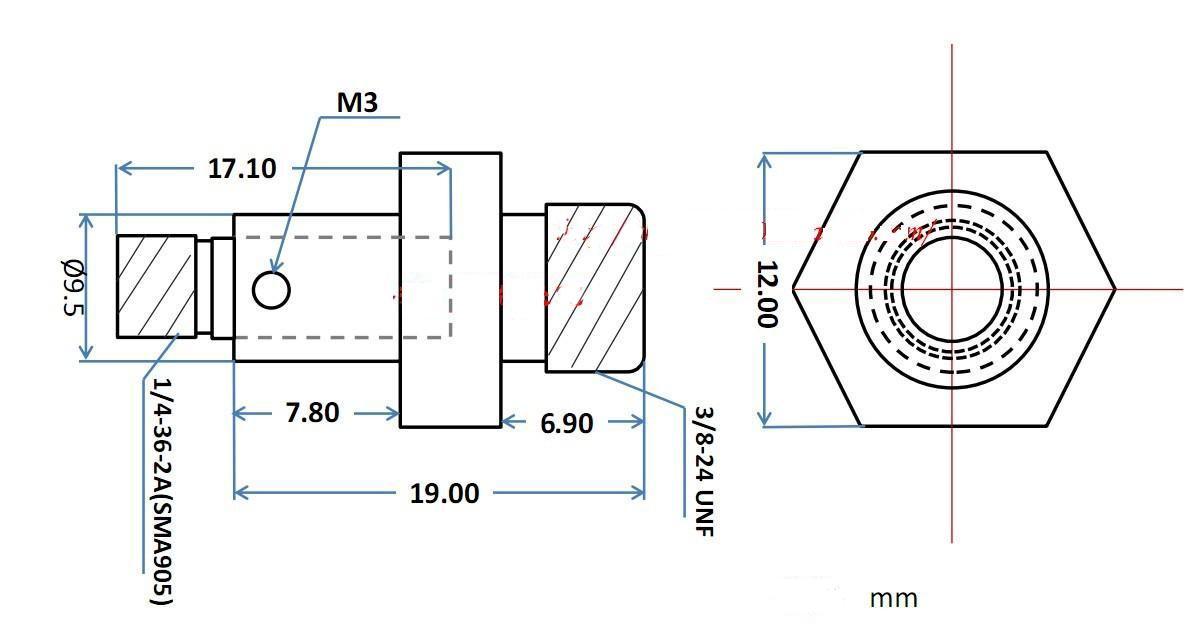 Espejo de enfoque de lente de colimación de fibra óptica de cuarzo Colimadores de fibra óptica de SMA905 lente de acoplamiento 74-UV