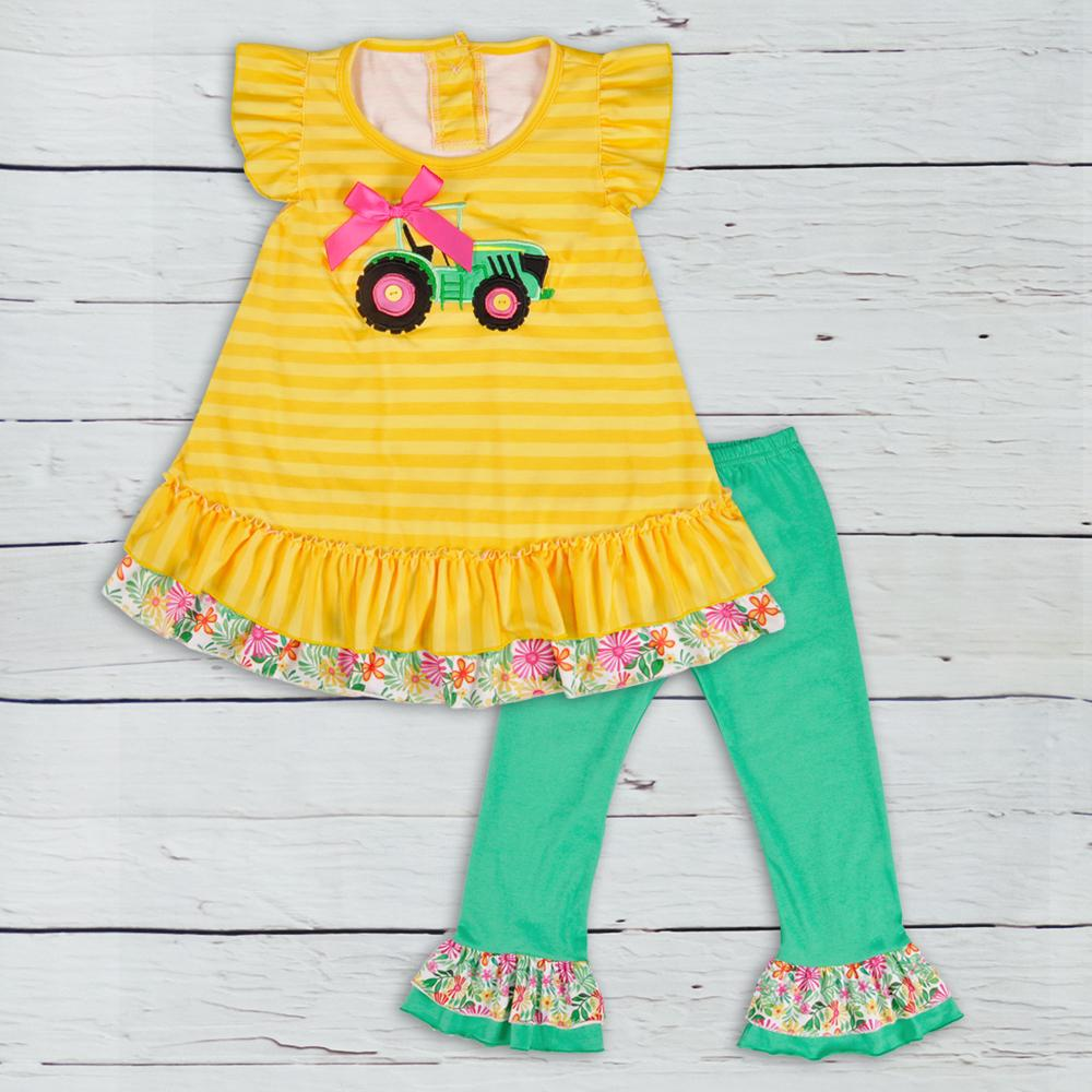 8e8d598d2b3d6 Popular Summer Kids Boutique Cotton Clothing Yellow Stripes Tractor Top  Green Ruffle Pants Girls Outfits 2GK806-380 Y1892906