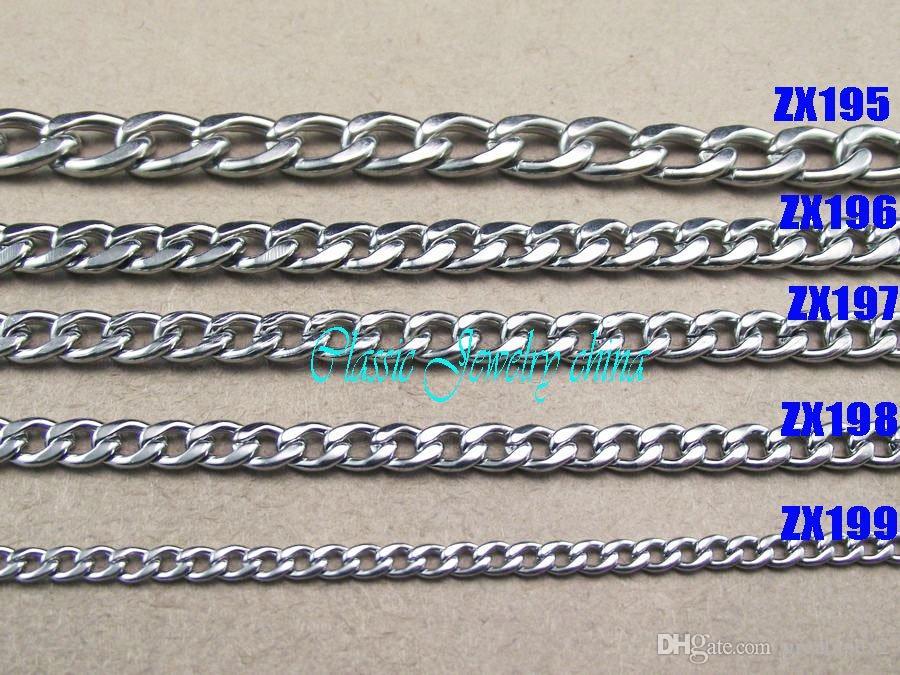 10st / mycket högkvalitativ varmförsäljning 316L rostfritt stål manens NK-kedja halsband 6mm män mode punk Figaro kedjor zx196 450-900mm