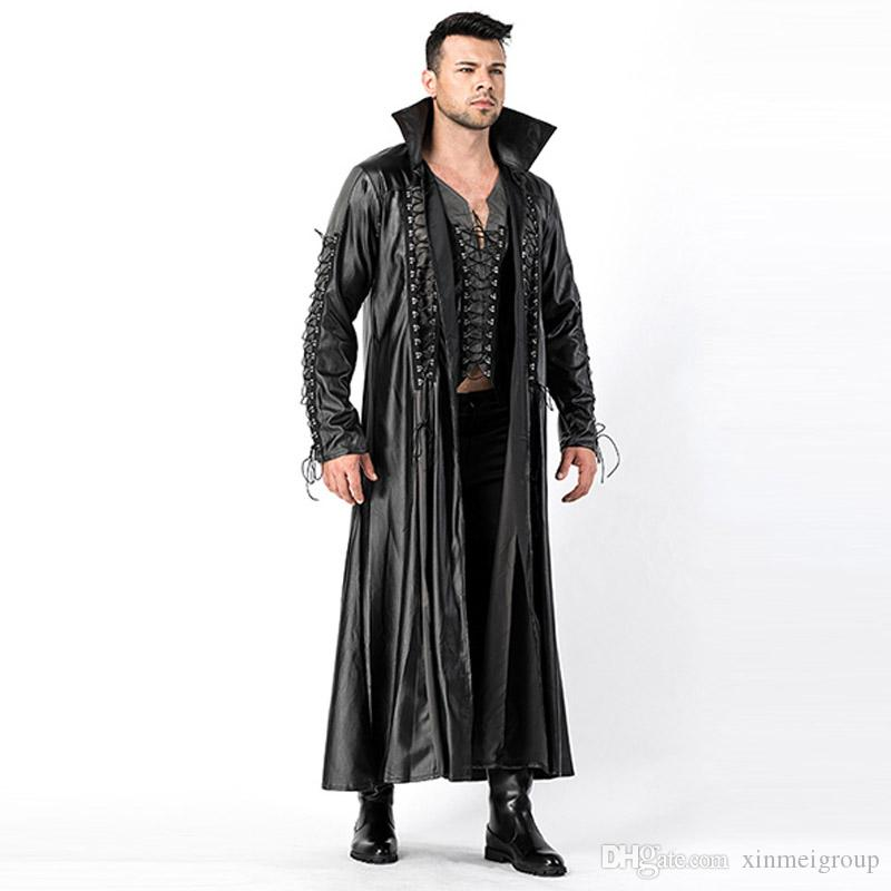 c9e041c8521 Halloween Costume for Men Black Faux Leather PVC Adult Goth Vampire Movie  Cosplay Fancy Dress W158806