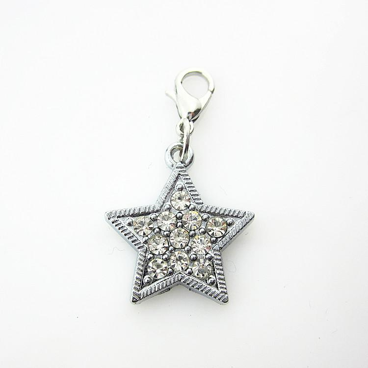 20 / pcs vente chaude mousqueton fermoir strass crysta étoile à cinq branches pendent charmes pour pendentif flottant médaillons bricolage bijoux
