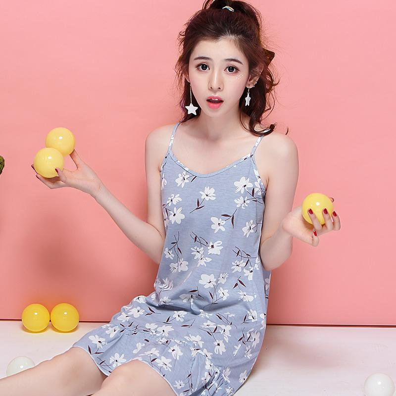 c822cb61ce 2019 Womens Nightgowns Sleepshirts Cotton Sleeping Shirt Summer Spaghetti  Straps Sleeping Dress Korean Students Cartoon Home Clothes From Oott