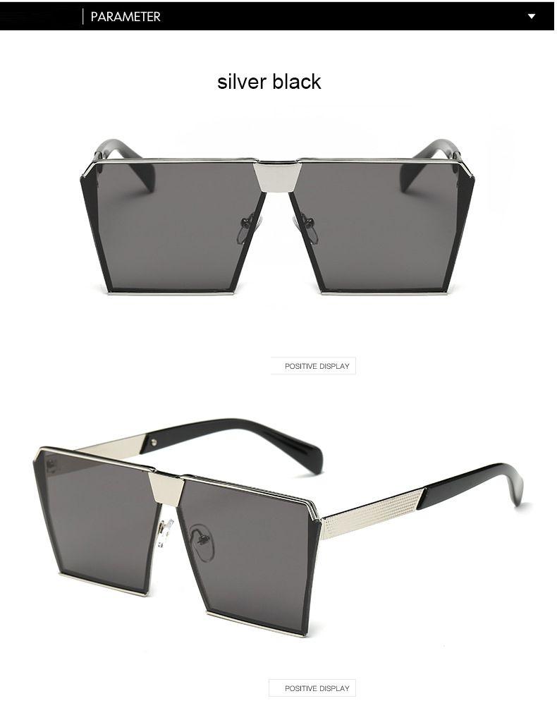 cfb2a9bd4e11 Fashion Brand Designer Square Flat Lens Sun Glasses Mirror Women ...